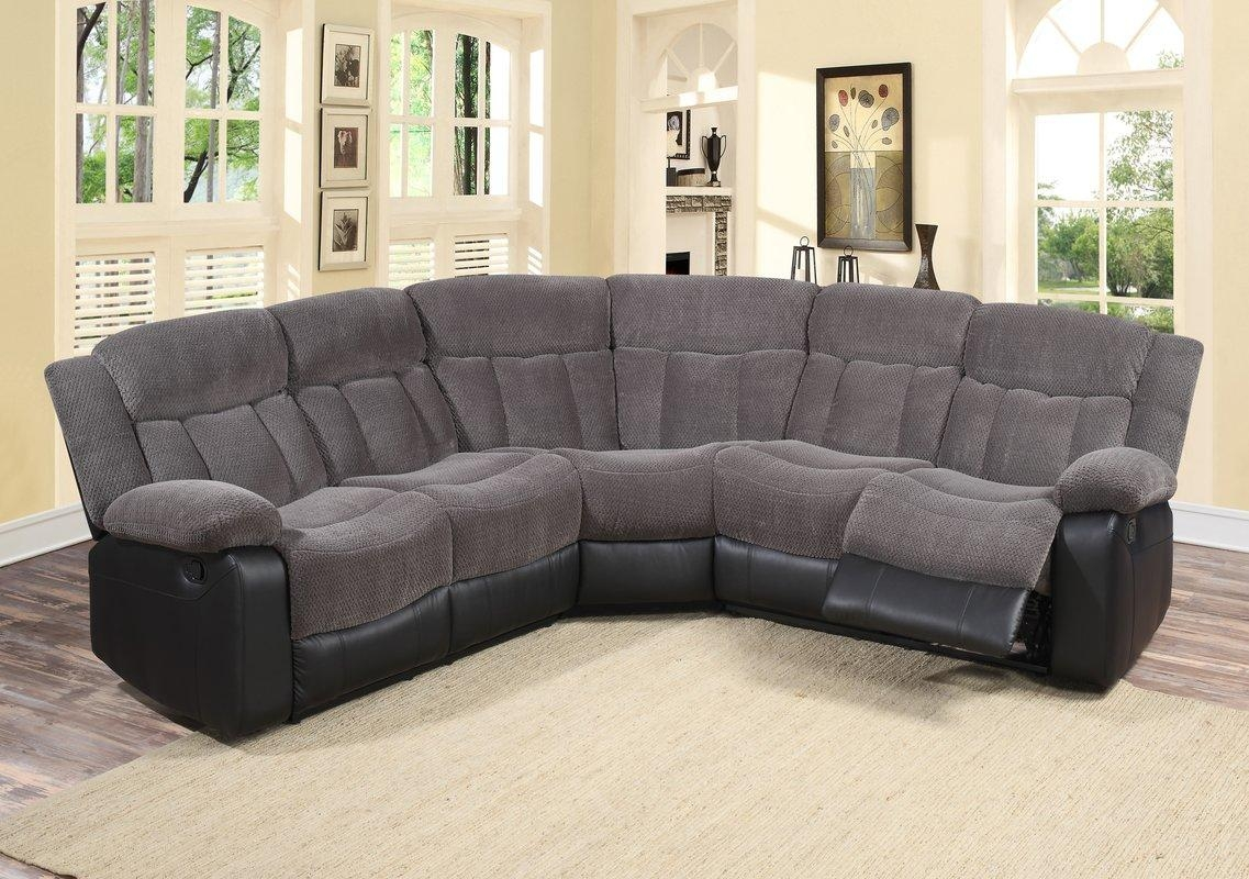 Living In Style Reclining Sectional & Reviews | Wayfair With Regard To Recliner Sectional Sofas (View 16 of 22)
