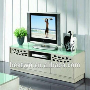 Living Romm Tempered Glass Top Lcd Tv Cabiner Wood Tv Stand Intended For Most Up To Date Wood Tv Stand With Glass Top (Image 7 of 20)