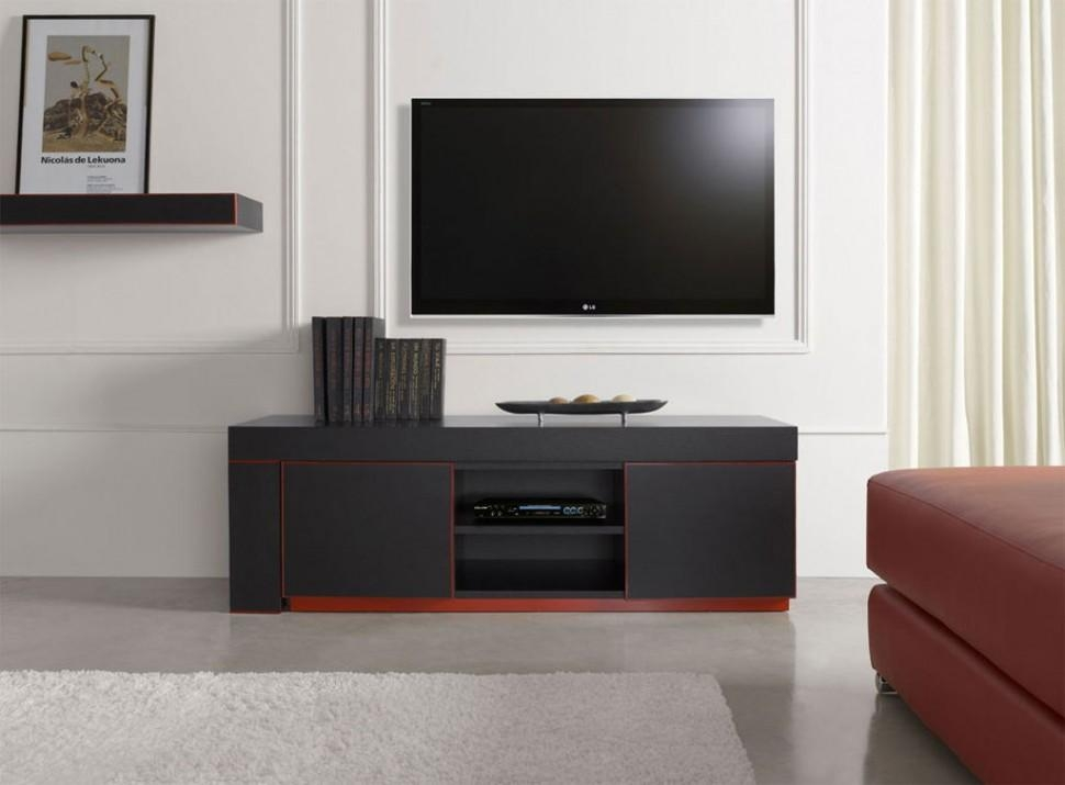 Living Room : Astonishing Modern Black Tv Stand With Storage Unit Throughout Current Black And Red Tv Stands (Image 13 of 20)