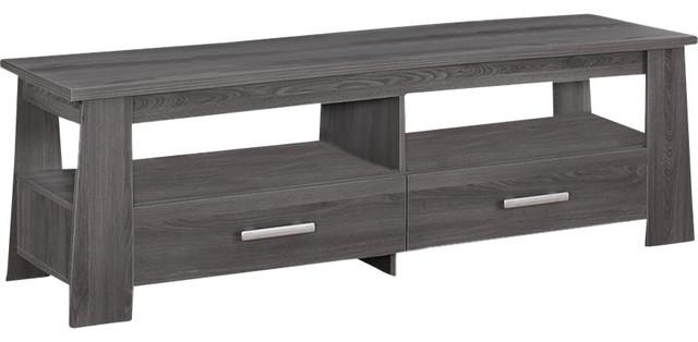 Living Room Dark Gray Tv Stand With 2 Drawers 2 Open Shelves With Most Current Open Shelf Tv Stands (Image 9 of 20)