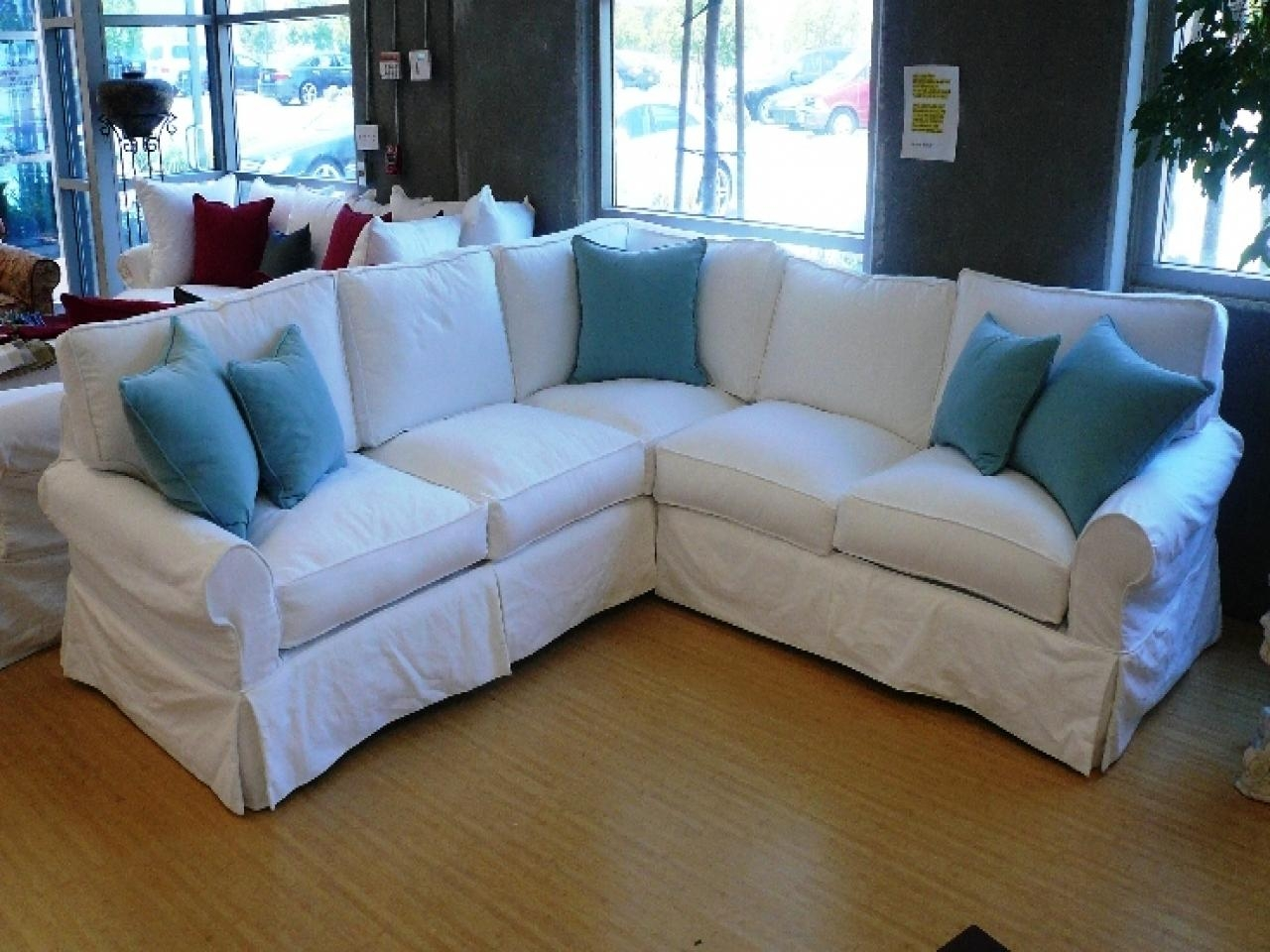 Living Room: Denim Sectional Sofa | Small Sectional Sofa With Pertaining To Small 2 Piece Sectional Sofas (Image 11 of 23)