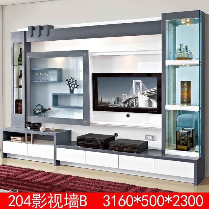 Living Room Furniture Lcd Tv Wall Unit Wood Led Tv Wall Unit Intended For Most Recent Modern Lcd Tv Cases (Image 12 of 20)