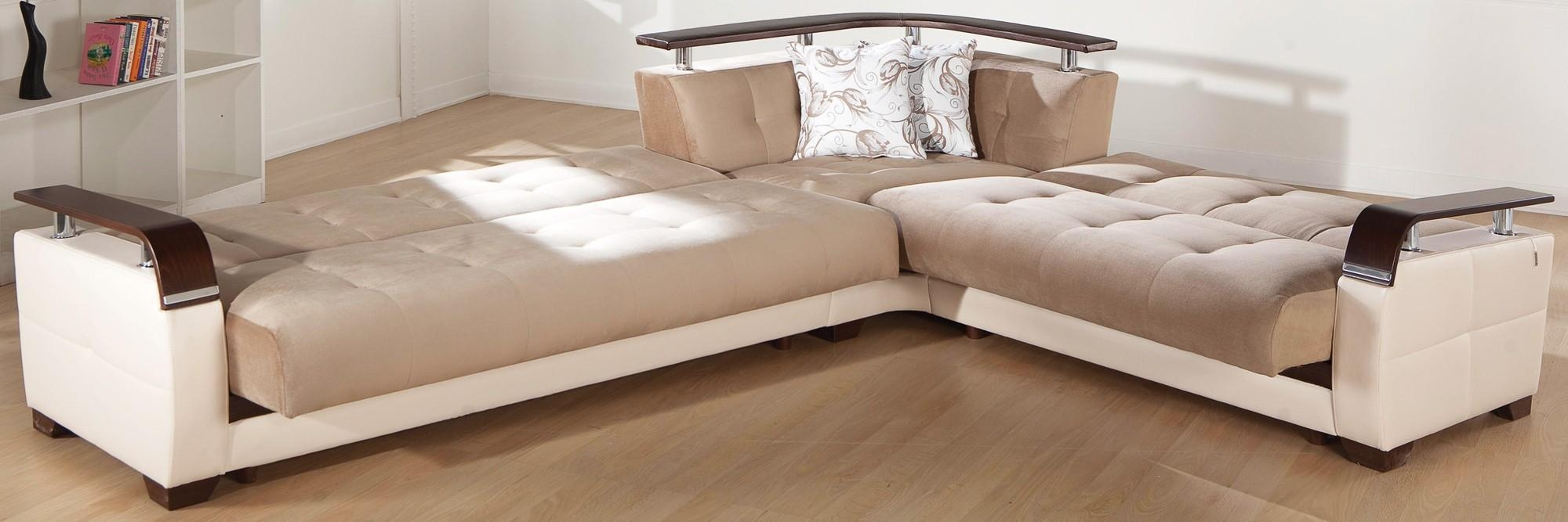 Living Room : Leather Sectional Sleeper Sofa With Reclining Queen In Sectional Sofas With Sleeper And Chaise (Image 12 of 21)