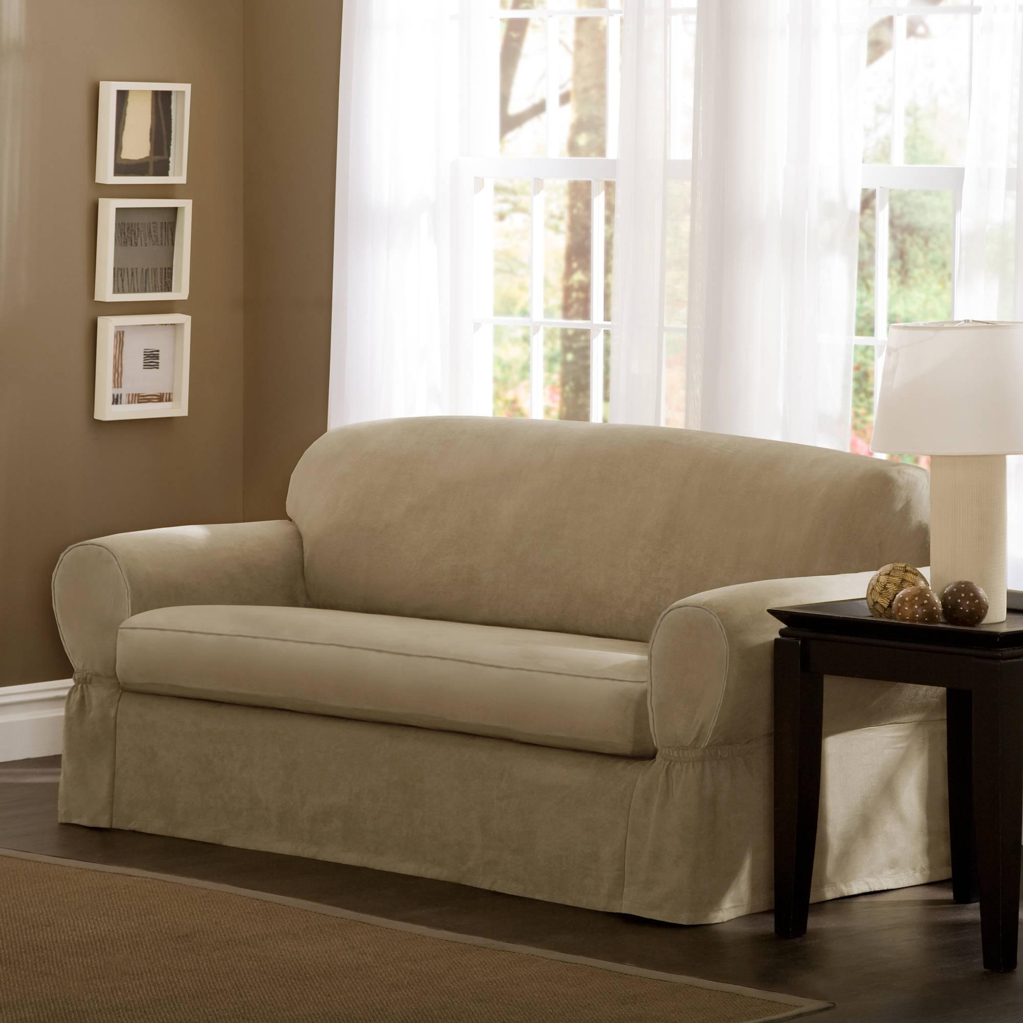 Living Room : Piece T Cushion Couch Cover Sofa Slipcover Sofas Pertaining To 2 Piece Sofa Covers (Image 9 of 27)