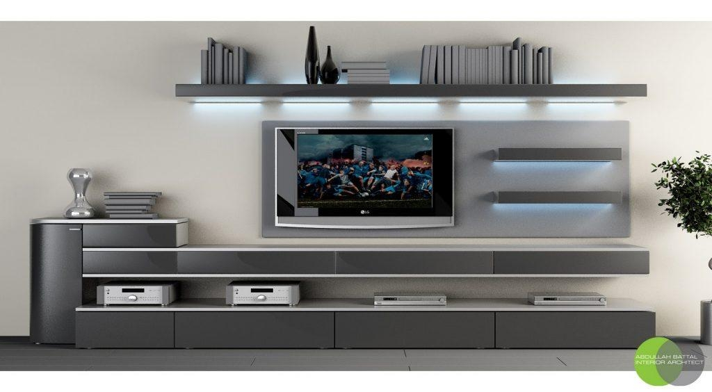 Living ~ Tv Stand Entertainment Console Led Tv Cabinet Design Intended For Most Popular Trendy Tv Stands (Image 7 of 20)