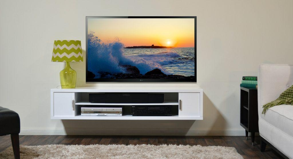 Living ~ White Wooden Wall Mount Tv Cabinets With Shelves And For Recent Led Tv Cabinets (Image 13 of 20)