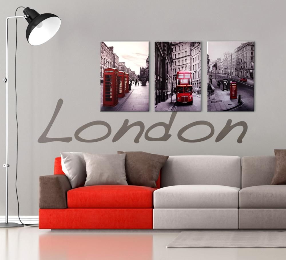 London Cityscape 3 Piece Printed Wall Art In Red And Black Canvas Wall Art (View 1 of 20)