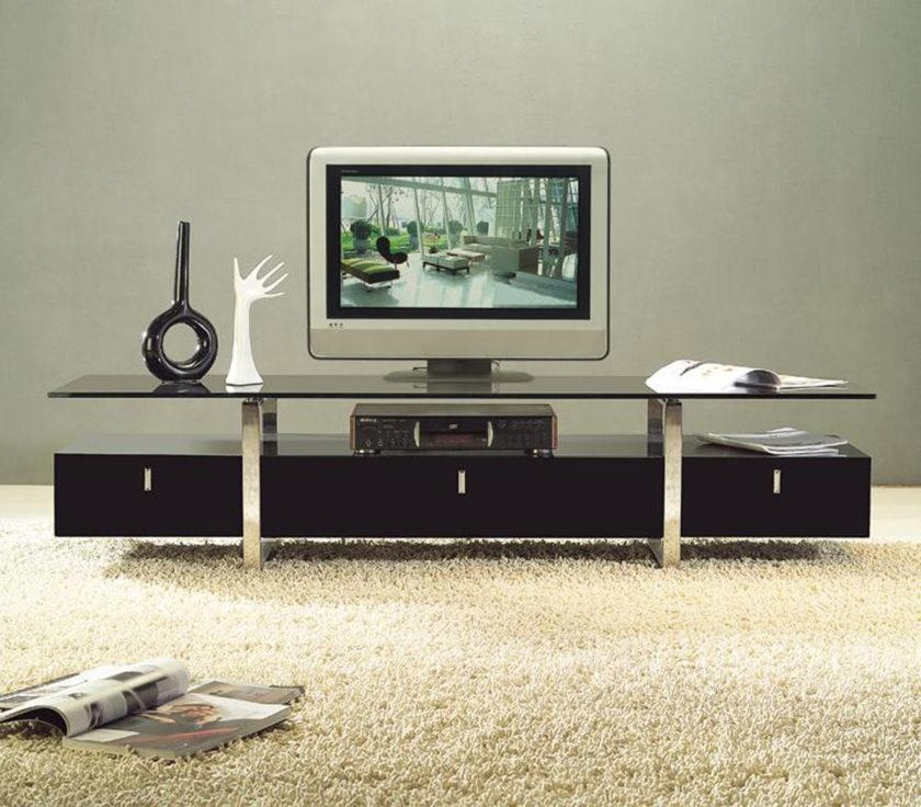 Long And Narrow Modern Black Tv Stand Mixed White Fur Rug Of Pertaining To Most Recently Released Long Black Tv Stands (Image 11 of 20)