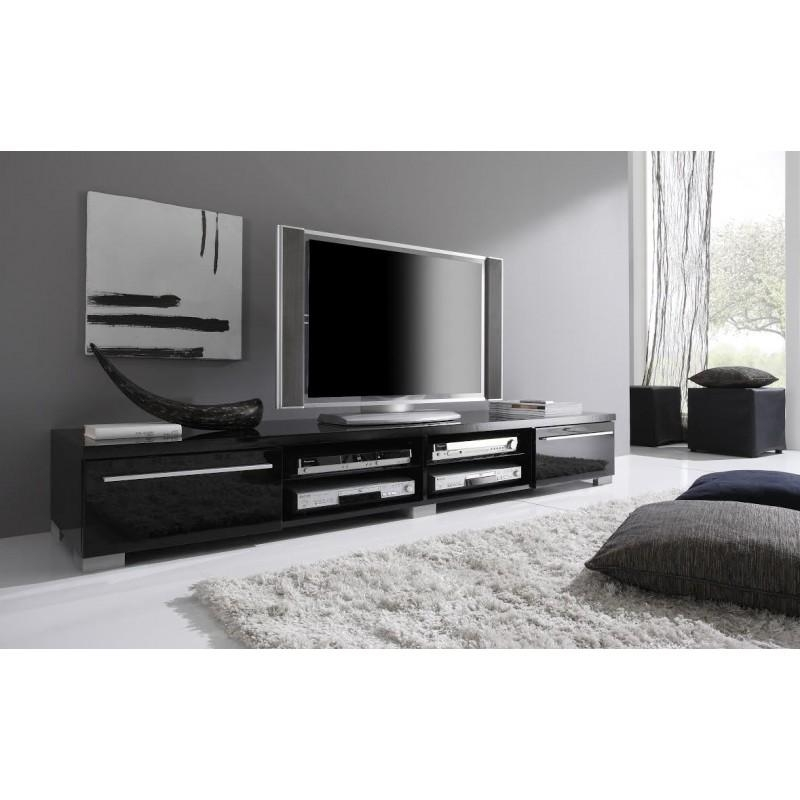 Long Black Contemporary Tv Stand Base In Lacquers Made In Italy For 2018 Long Tv Stands (Image 11 of 20)