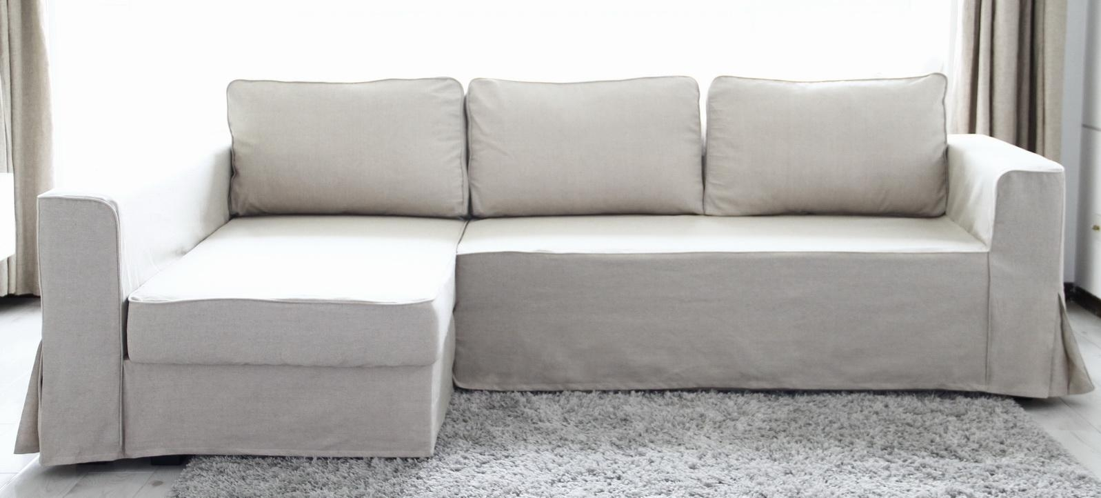 Loose Fit Linen Manstad Sofa Slipcovers Now Available For Ikea Chaise Lounge Sofa (Image 15 of 20)