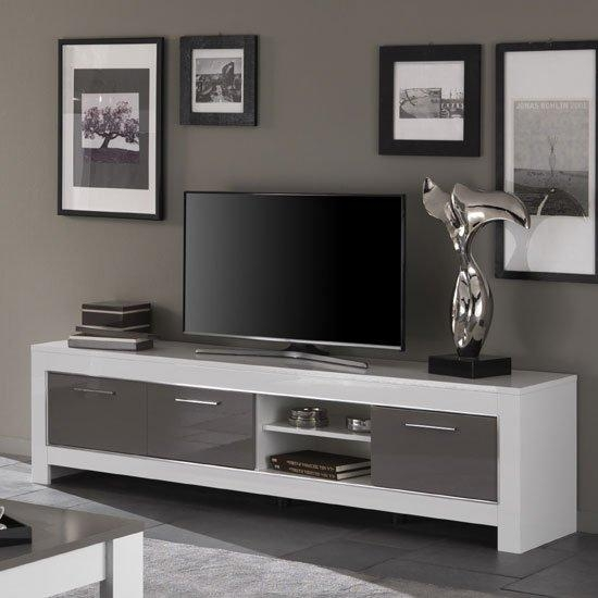 Lorenz Large Tv Stand In White And Grey High Gloss 29295 Pertaining To 2017 Grey Tv Stands (View 18 of 20)