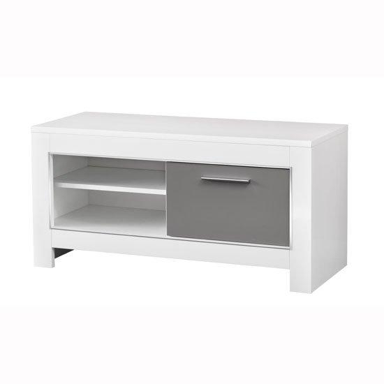 Lorenz Small Tv Stand In White And Grey High Gloss 29279 For Most Up To Date Grey Corner Tv Stands (Image 12 of 20)