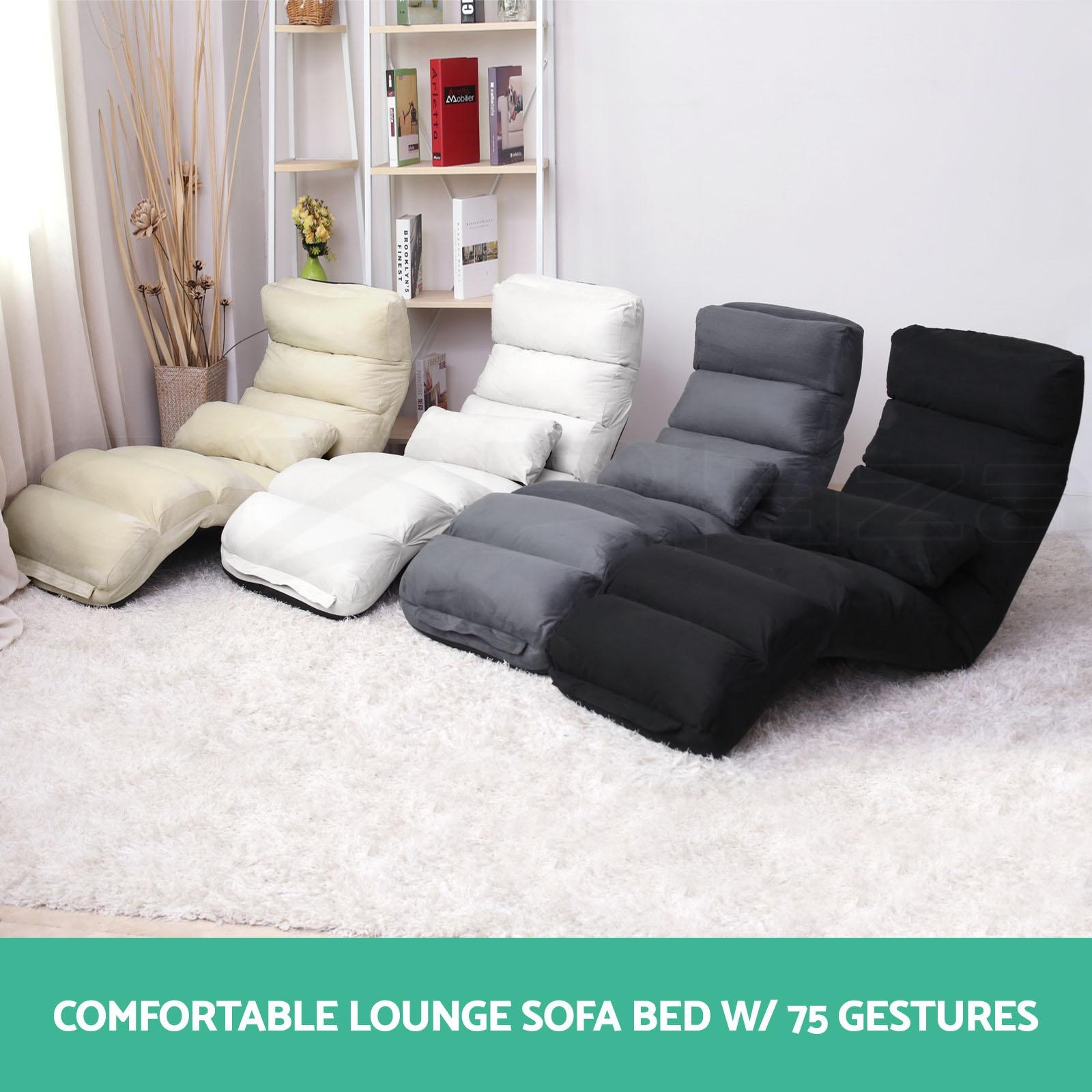Lounge Sofa Bed Floor Recliner Folding Chaise Chair Adjustable Regarding Sofa Lounger Beds (Image 13 of 20)