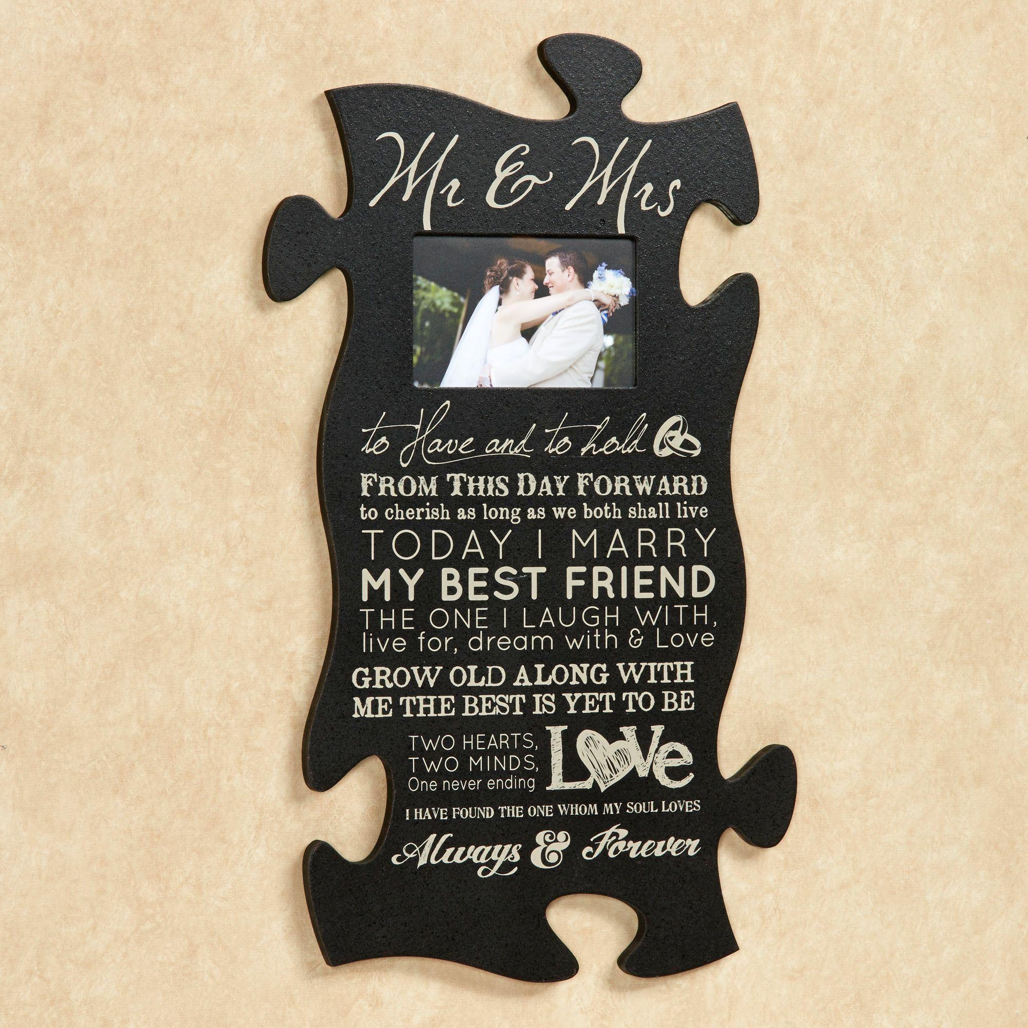 Love And Marriage Photo Frame Puzzle Piece Wall Art Inside Mr And Mrs Wall Art (Image 3 of 20)