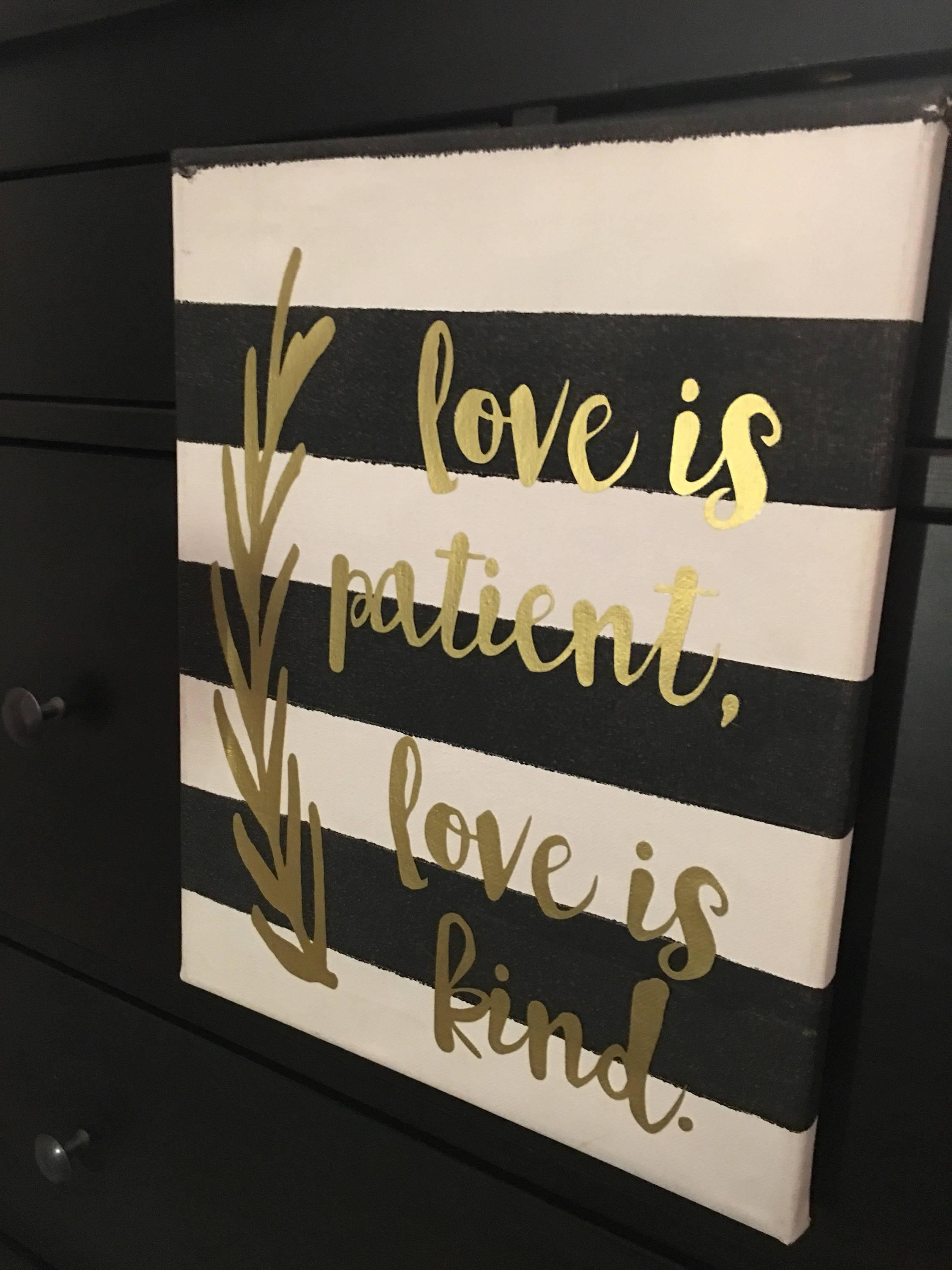 Love Is Patient, Love Is Kind Canvas Wall Art, 1 Corinthians 13 In Love Is Patient Love Is Kind Wall Art (Image 15 of 20)