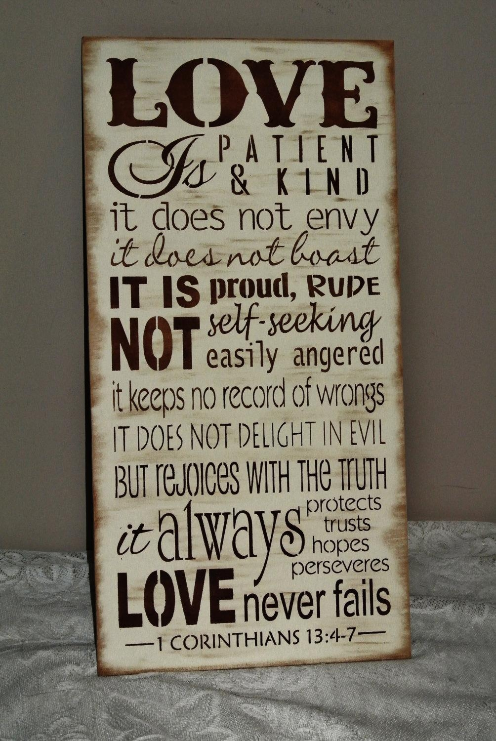 Love Is Patient Love Is Kind Corinthians Bible Verse Wood Pertaining To Love Is Patient Love Is Kind Wall Art (Image 10 of 20)
