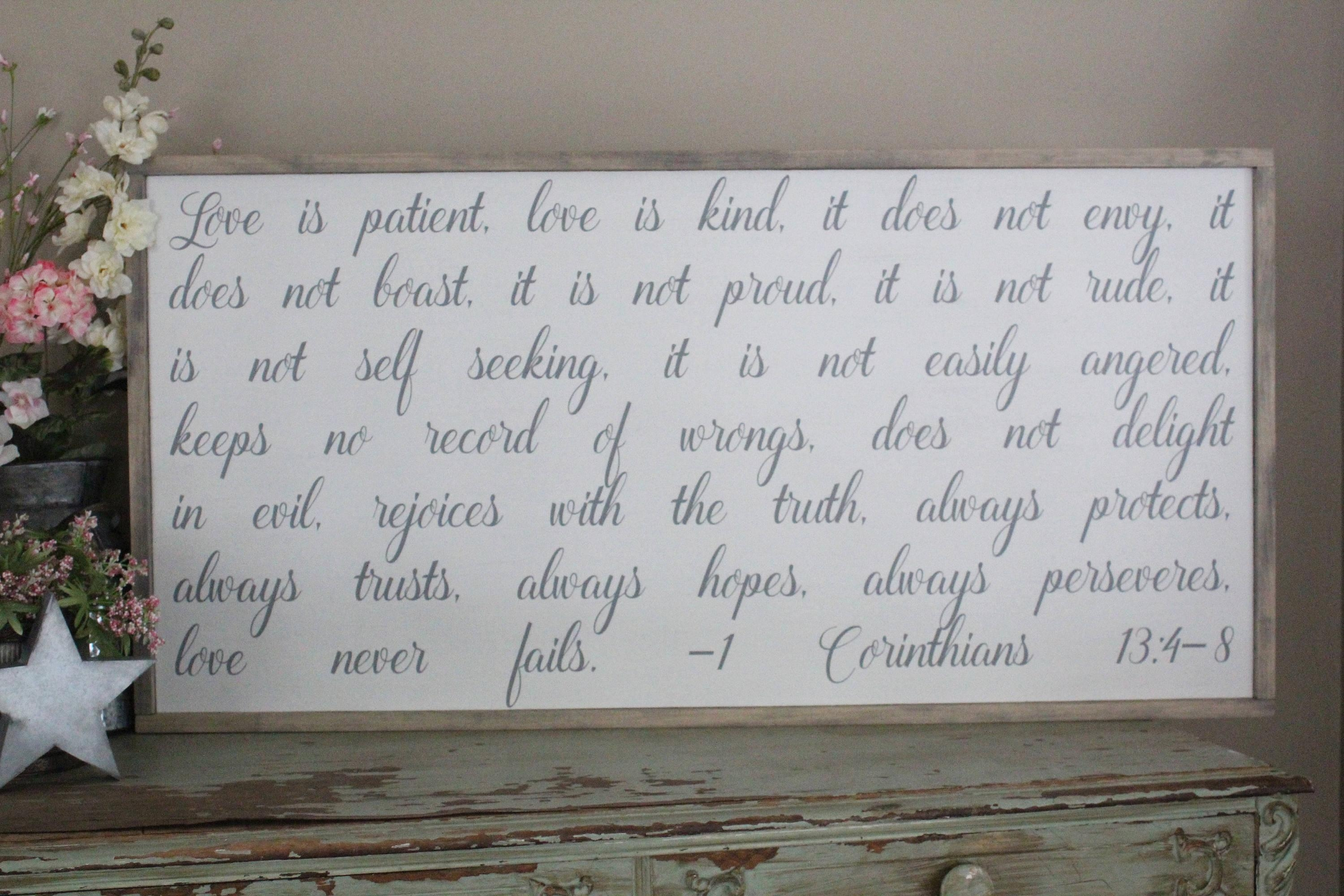 Love Is Patient Love Is Kind Sign Love Never Fails Framed In Love Is Patient Love Is Kind Wall Art (Image 12 of 20)