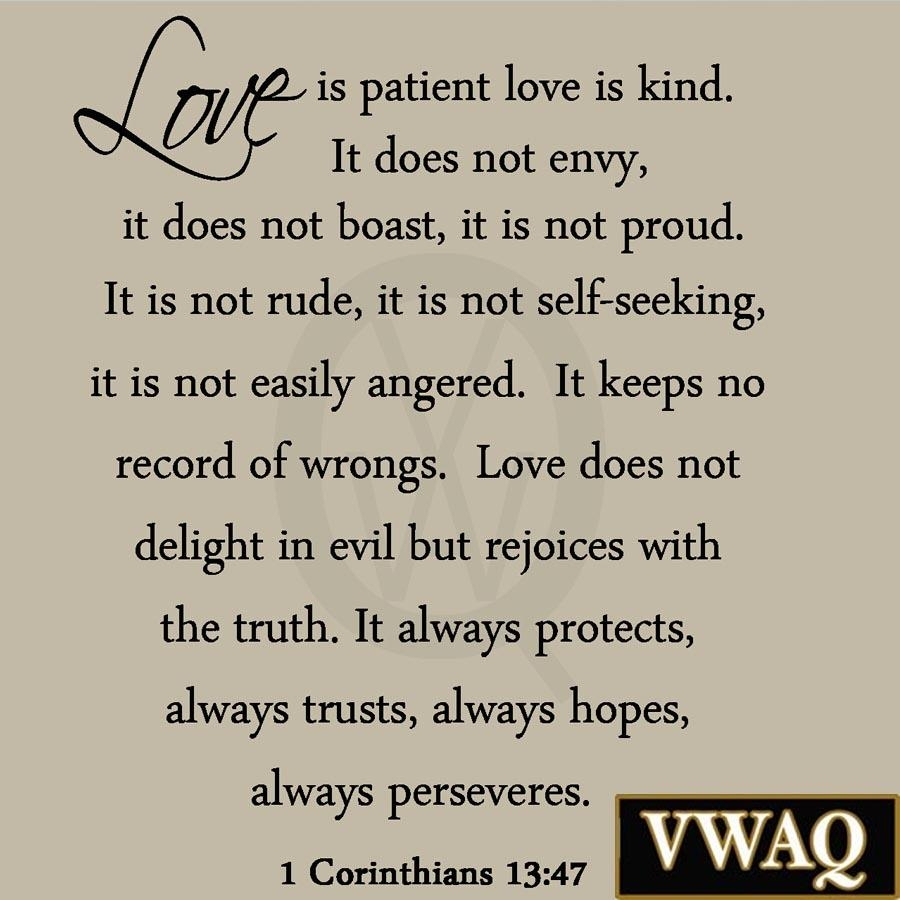 Love Is Patient Love Is Kind Wall Decal Marriage Bible Quote With Regard To Love Is Patient Love Is Kind Wall Art (View 13 of 20)