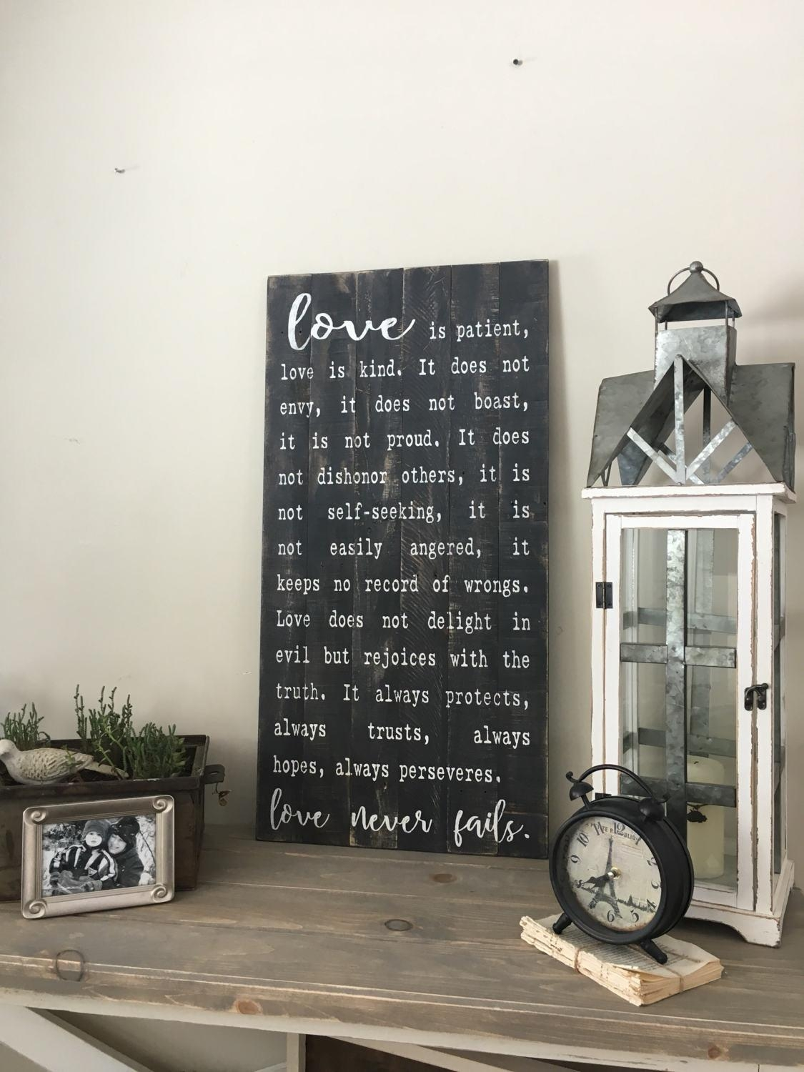 Love Is Patient Sign, 1 Corinthians 13, Large Wood Sign, Reclaimed In 1 Corinthians 13 Wall Art (Image 12 of 20)