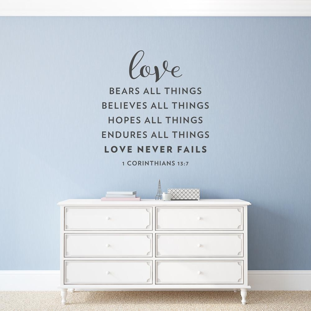 Love Never Fails Wall Art Decal With 1 Corinthians 13 Wall Art (Image 14 of 20)