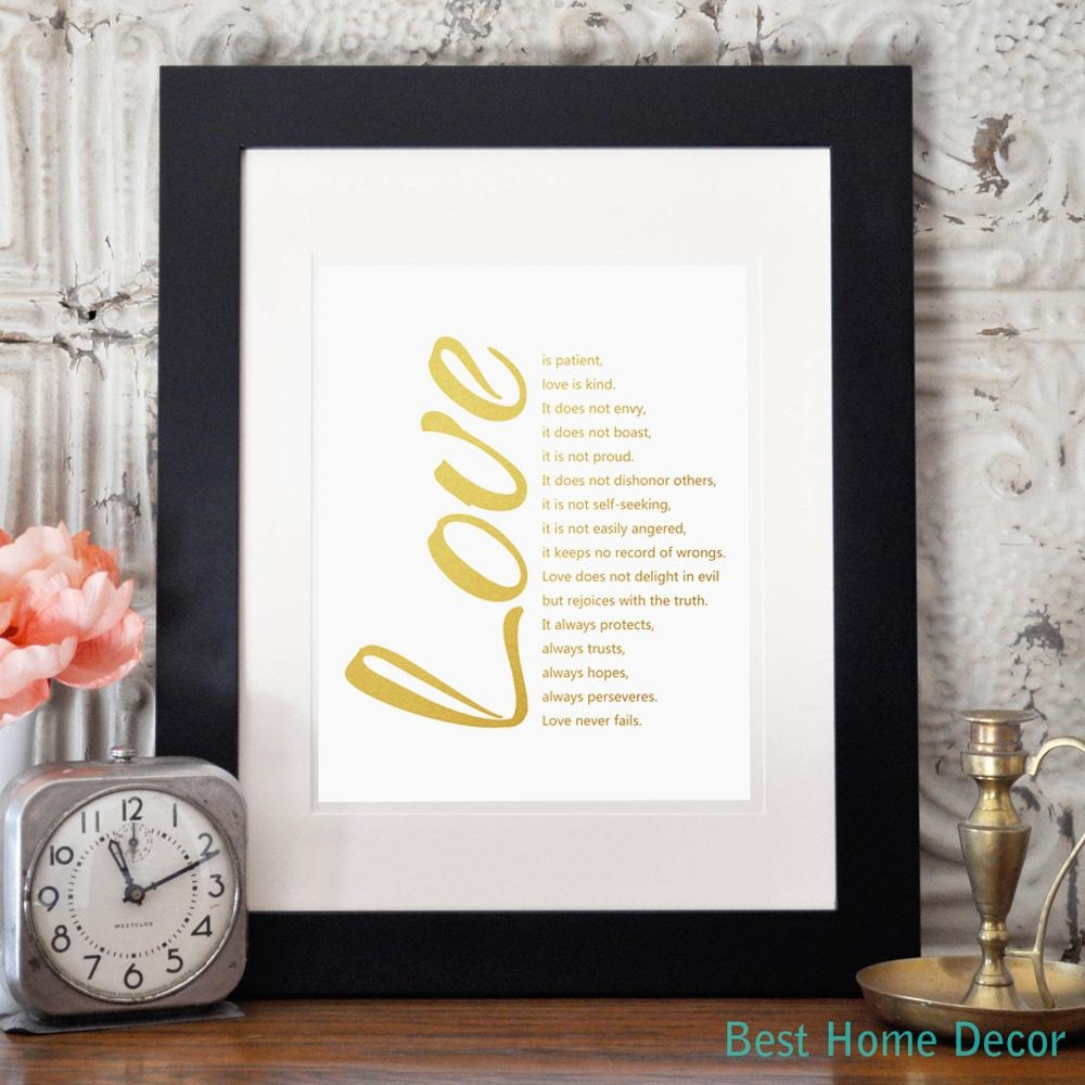 Love Quotes Gold Poster Fine Art Paper 1 Corinthians 13 Art Print With Regard To 1 Corinthians 13 Wall Art (Image 15 of 20)