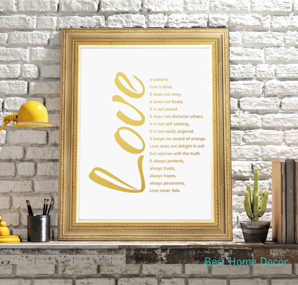 Love Quotes Gold Poster Fine Art Paper 1 Corinthians 13 Art Print With Regard To Love Is Patient Love Is Kind Wall Art (Image 17 of 20)