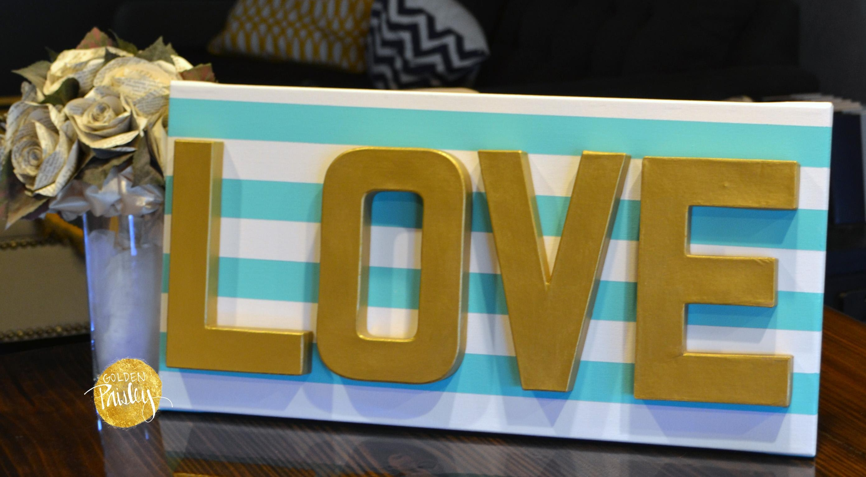 Love Striped 3D Canvas Art For Teal And Gold Wall Art (View 13 of 20)