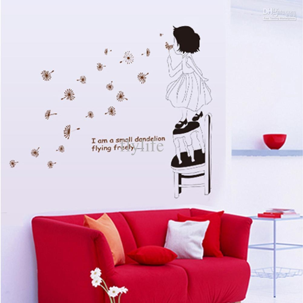 Lovely Girl Blowing Dandelion And Inspirational Quotes, Art Wall Intended For Inspirational Wall Art For Girls (View 16 of 20)