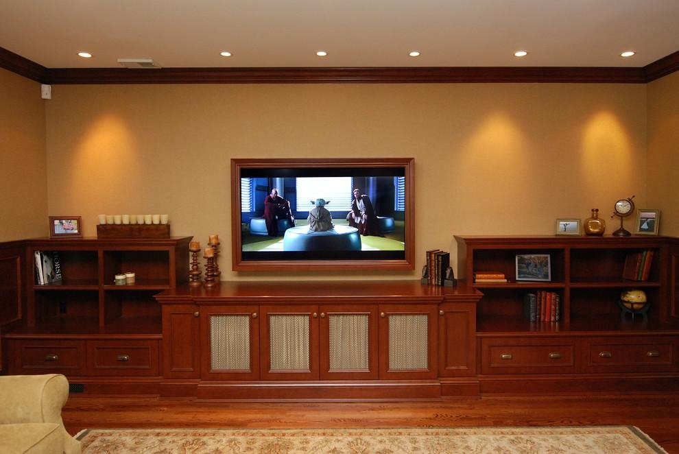 Low Tv Cabinet Home Theater Traditional With Area Rug Bookcase With Regard To Newest Traditional Tv Cabinets (Image 6 of 20)