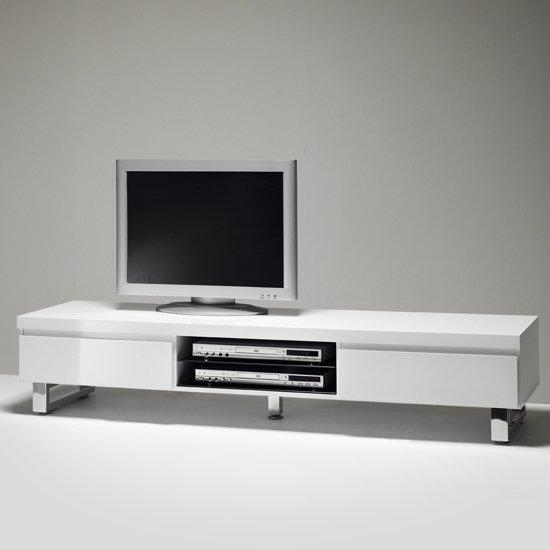 Lowboard Tv Stand In High Gloss White With 2 Drawers For Best And Newest Black Gloss Tv Bench (Image 6 of 20)