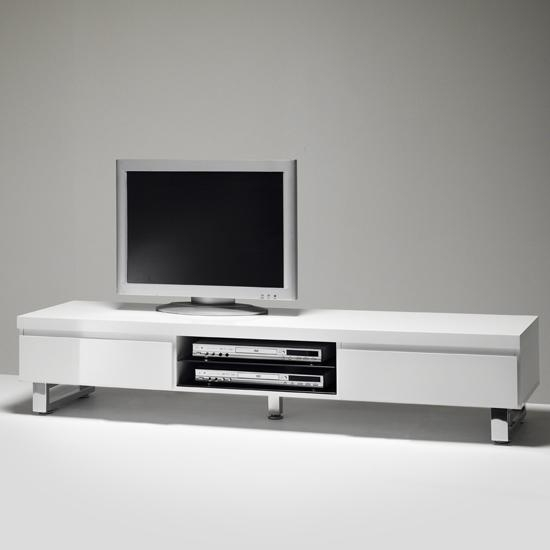 Lowboard Tv Stand In High Gloss White With 2 Drawers inside Most Up-to-Date White Gloss Tv Cabinets