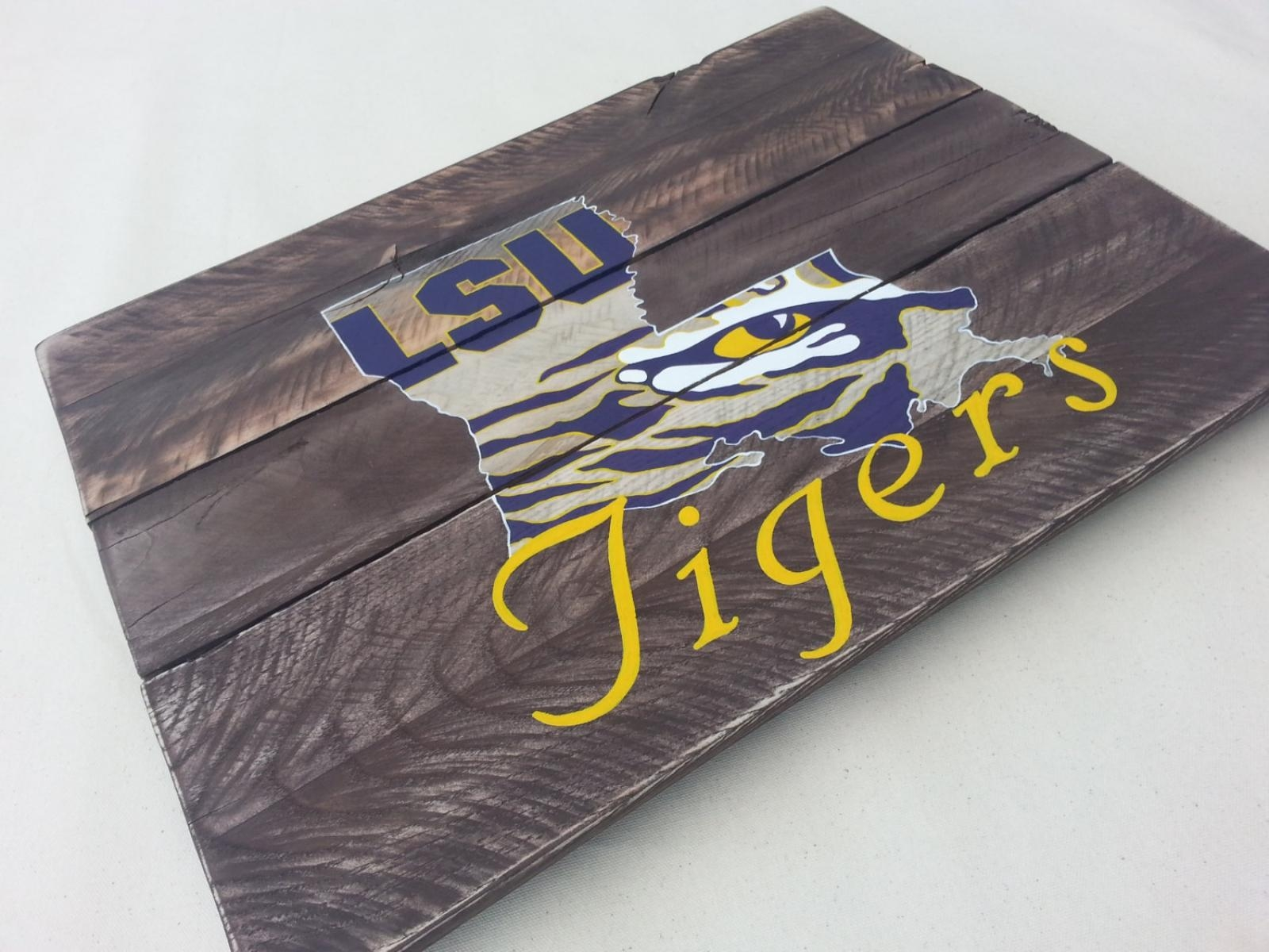 Lsu Tiger Eye Hand Painted Pallet Art Or Pallet Sign Original With Regard To Lsu Wall Art (Image 12 of 20)