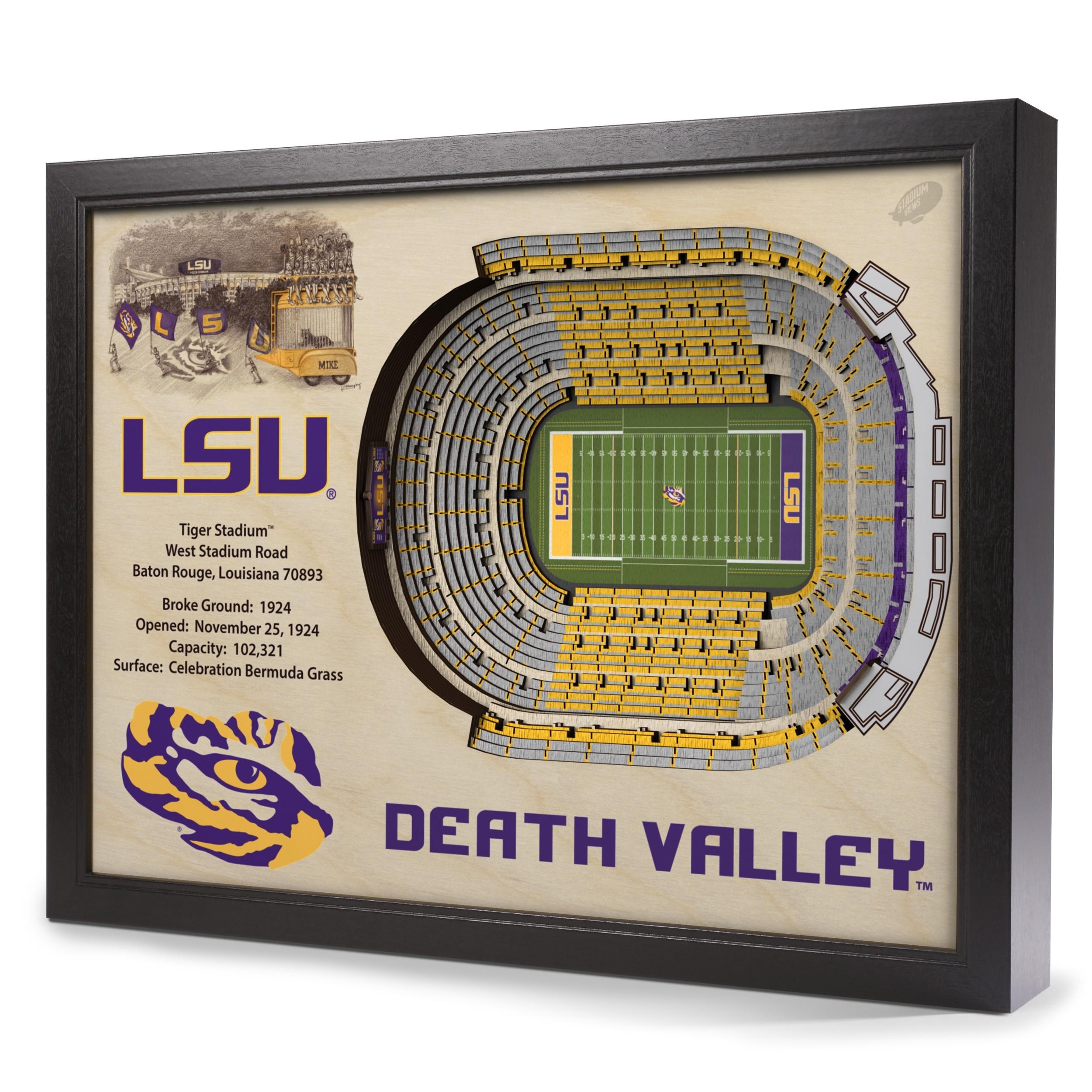Lsu Tigers Stadiumview Wall Art – Tiger Stadium 3 D Reproduction Inside Lsu Wall Art (View 9 of 20)