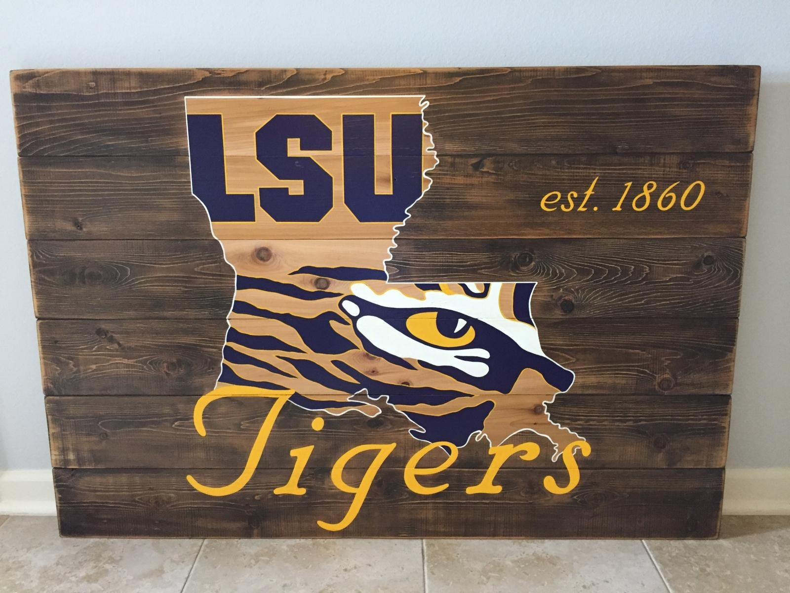 "Lsu Tigers Wood Sign 36""x48"", Reclaimed Wood, Original Design In Lsu Wall Art (View 8 of 20)"
