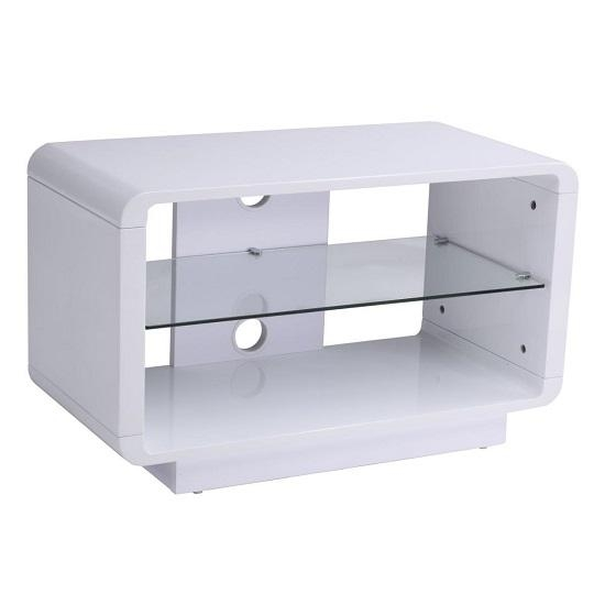 Lucia Tv Stand Small In High Gloss White With Glass Shelf – Black With Latest Small White Tv Stands (View 3 of 20)