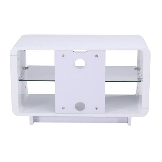 Lucia Tv Stand Small In High Gloss White With Glass Shelf For Newest Small White Tv Stands (Image 10 of 20)