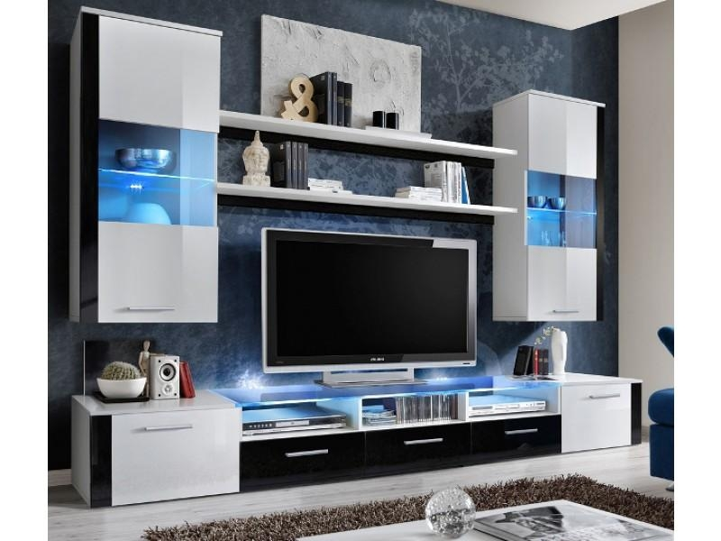 Lumia 4 – White And Black High Gloss Tv Wall Unit – Modern Wall In Most Recently Released Black Gloss Tv Wall Unit (Image 10 of 20)
