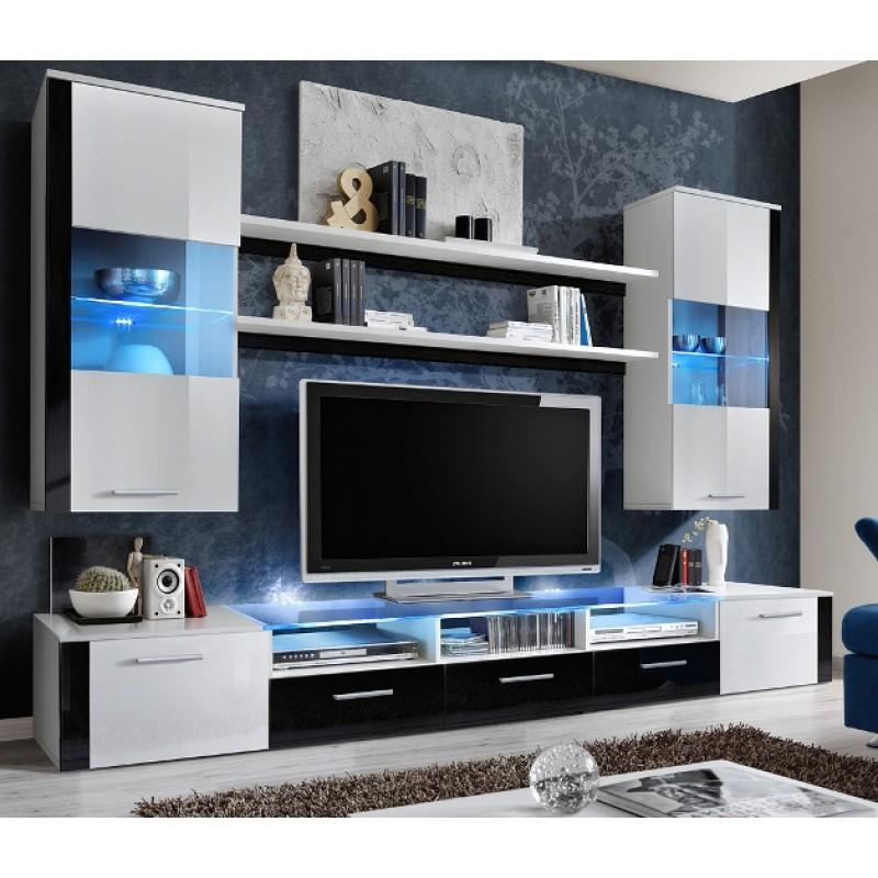 Lumia 4 – White And Black High Gloss Tv Wall Unit – Modern Wall Intended For Most Up To Date Black Gloss Tv Wall Unit (Image 11 of 20)
