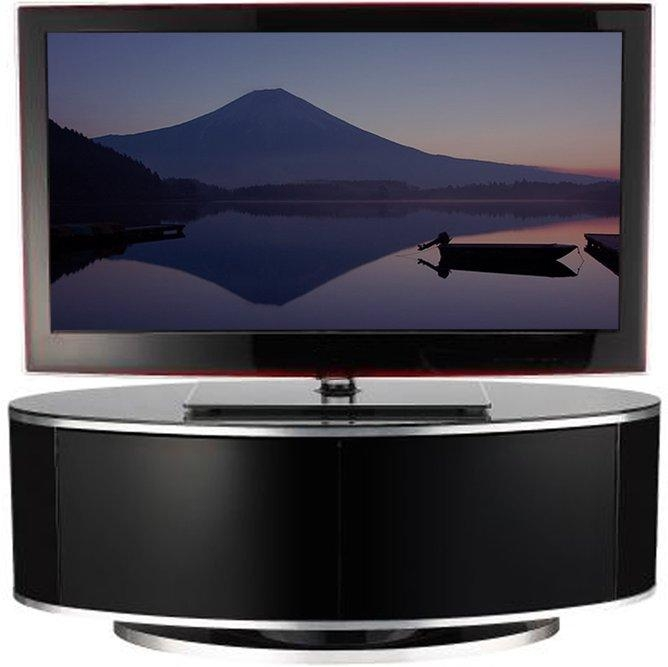Luna High Gloss Black Oval Tv Cabinet With Regard To Most Up To Date Black High Gloss Corner Tv Unit (View 2 of 20)