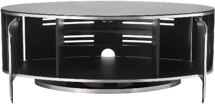 Luna High Gloss Black Oval Tv Cabinet Within Recent Beam Thru Tv Cabinet (Image 13 of 20)
