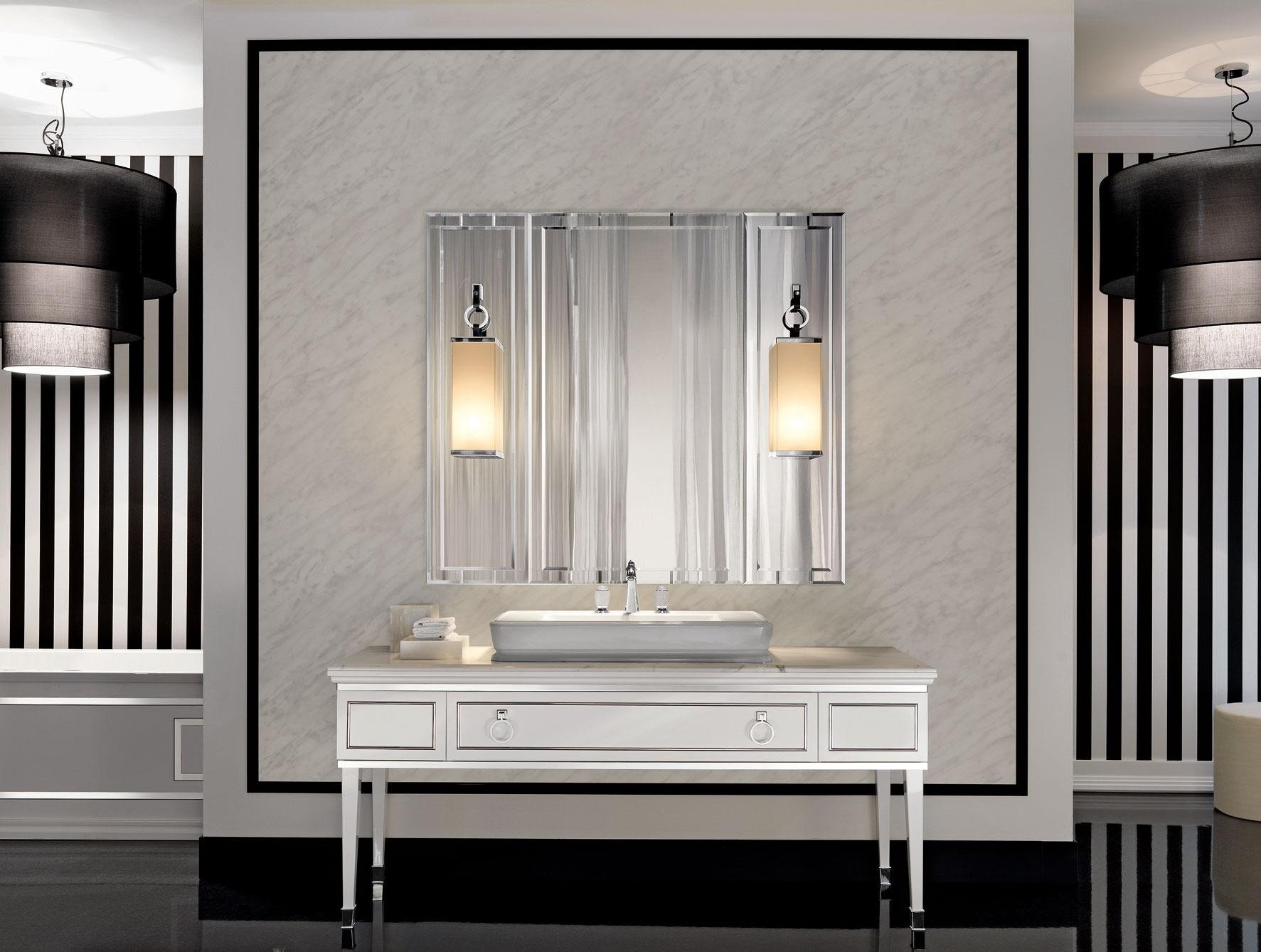Lutetia L3 Luxury Art Deco Italian Bathroom Furniture In White Lacquer In Italian Wall Art For Bathroom (Image 13 of 20)