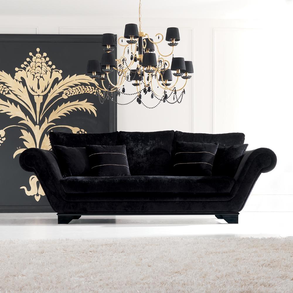 Luxurious Modern Black Velvet Three Seater Sofa | Juliettes Within Black Velvet Sofas (Image 8 of 20)