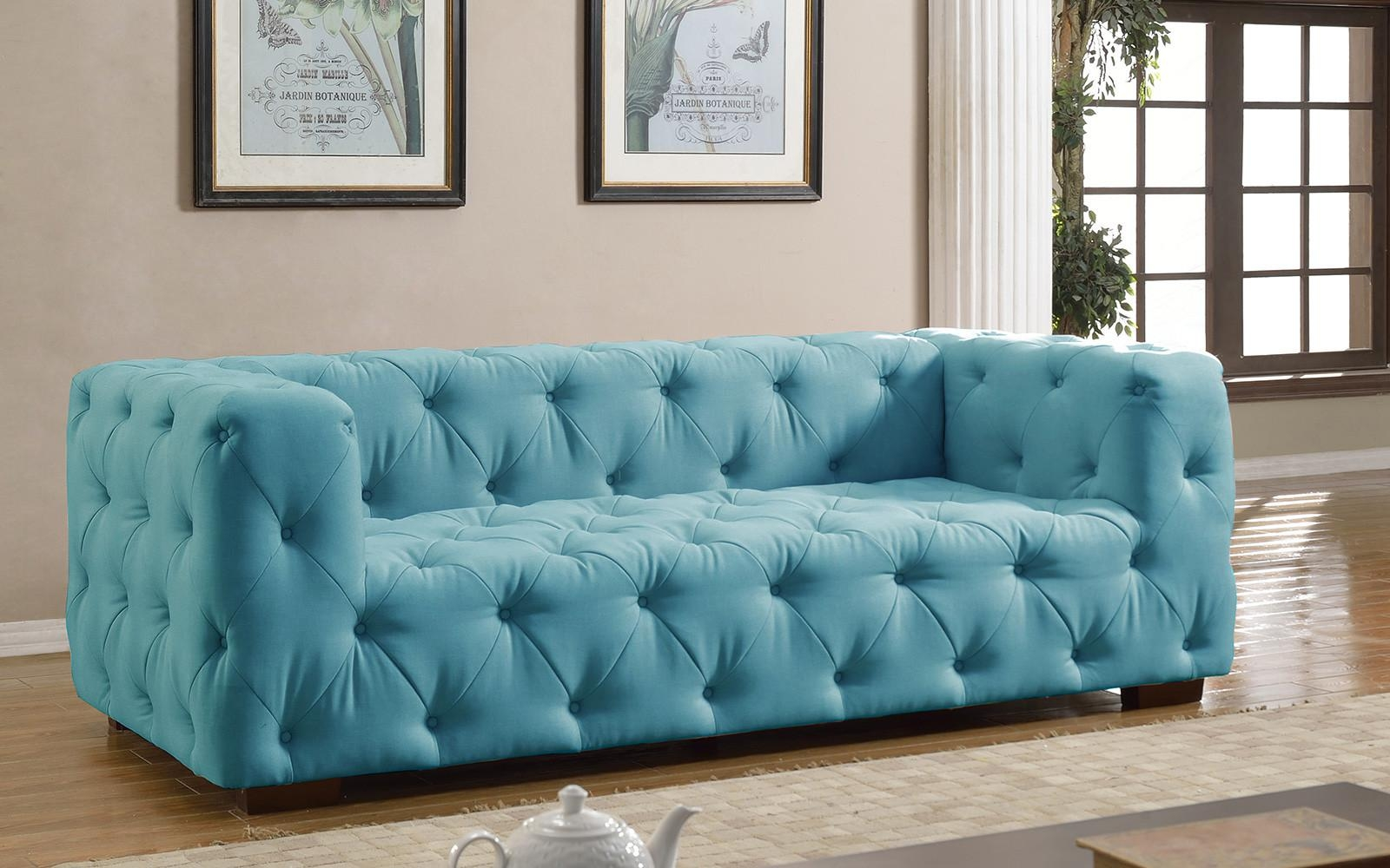 Luxurious Modern Large Tufted Linen Fabric Sofa – Walmart With Blue Tufted Sofas (Image 13 of 22)