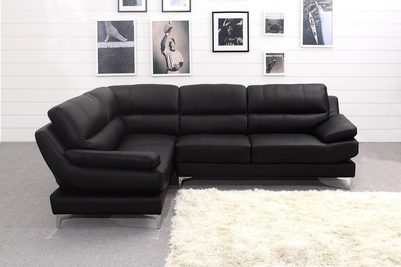 Luxury Black Leather Corner Sofa (Image 18 of 22)
