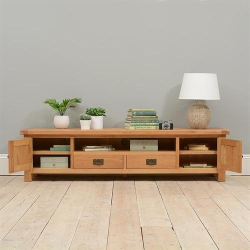 "Lyon Oak Low Extra Wide Tv Unit – Up To 84"" ( (Image 13 of 20)"