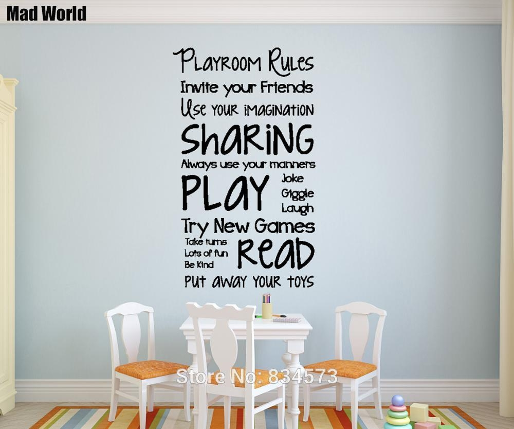 Mad World Playroom Rules Children Play Wall Art Stickers Wall For Playroom Rules Wall Art (Image 12 of 20)
