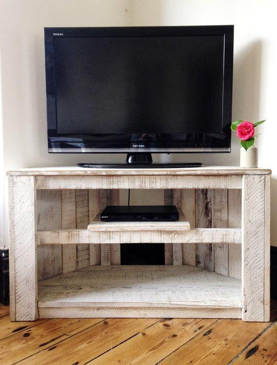 Made To Order – Handmade Rustic Corner Table / Tv Stand With Shelf Within Latest White Rustic Tv Stands (Image 11 of 20)