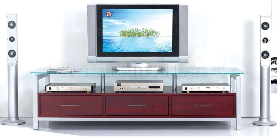 Mahogany Finish Modern Tv Stand With Glass Top Regarding Current Wood Tv Stand With Glass Top (Image 8 of 20)