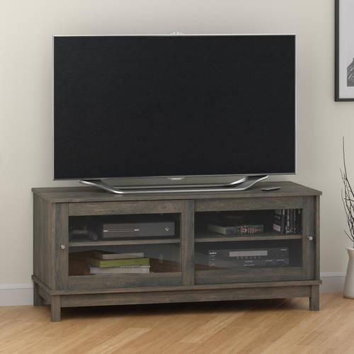 "Mainstays 55"" Tv Stand With Sliding Glass Doors, Black Ebony Ash Pertaining To 2018 Black Tv Stand With Glass Doors (Image 14 of 20)"