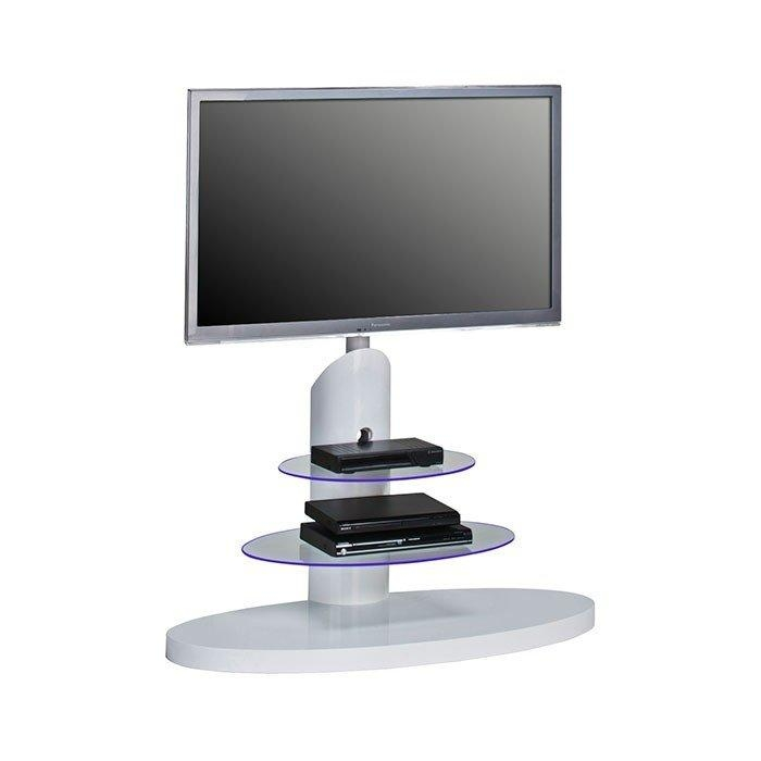 Maja 1636 9956 High Gloss White Cantilever Tv Stand For Screens Up Intended For Most Popular White High Gloss Corner Tv Unit (Image 8 of 20)